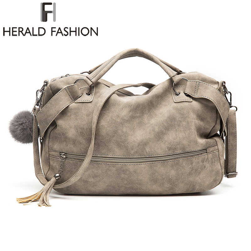 6163993da57 Detail Feedback Questions about Herald Fashion Vintage Nubuck Leather Female  Top handle Bags Rivet Larger Women Bags Hair Ball Shoulder Bag New  Motorcycle ...