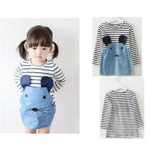 Kids Dresses For Girls Direct Selling Appliques Regular Elsa Dress 2016 New Girls Cartoon Stitching Stripe Dress Kids Clothes