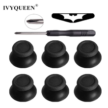 IVYQUEEN 6 pcs Black Analog Joystick Caps + Tool + LED Sticker for Dualshock 4 PS4 Pro Slim Controller Analogue Thumbsticks