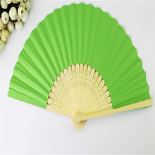Chinese Style Bamboo Paper Pocket Fan Folding Foldable Hand Held Fans Wedding Party Favor Event Party Supplies Candy Color 10pcs