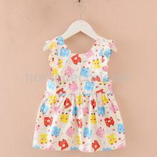 Lovely Children Kids Baby Girl Cotton Cartoon Pattern Eating Arts & Crafts Painting Apron(China)