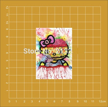 Japanese spoof hello Kitty cartoon Notebook skateboard Ipad trolley backpack Tables book decal PVC sticker Colorful