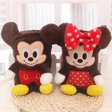 Cute soft cartoon plush brown mickey/minnie toy blanket,baby air conditioning rolling blanket,family travelling portable toy