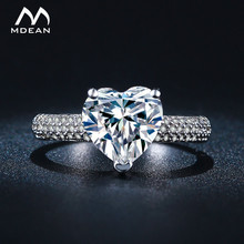 MDEAN Big Heart Wedding Rings For Women White Gold Color AAA Zircon Jewelry Engagement Bijoux Accessories Size 5 6 7 8 9 MSR048