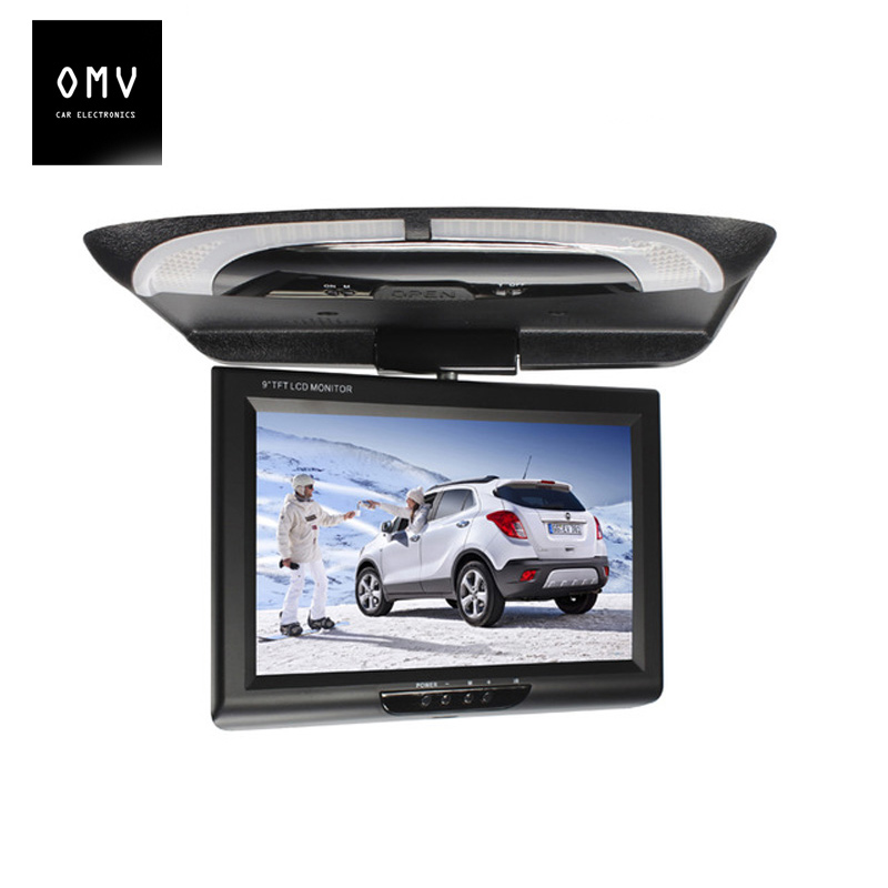 9 Inch 800*480 Car Monitor Roof Mount LCD Color Monitor Flip Down Screen Overhead Video player with remote control Multimedia(China)