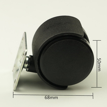50mm Black Plastic Flat Sofa Casters Quiet Casters Swivel Casters Furniture Caster Furniture Hardware