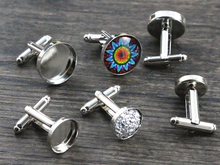 10pcs/ lot 12mm and 16mm White K Rhodium Plated Copper Cufflink Base Cuff Link Settings Cabochon Cameo Base