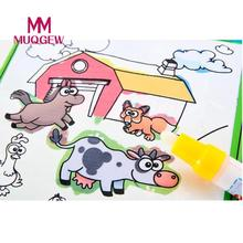 MUQGEW Brand Learning & Education Toys Magic Water Drawing Book Coloring Book Doodle Magic Pen Animals Painting drawing Toy(China)