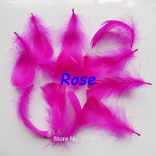 Wholesale 100pcs/lot Rose Color 5-8cm/2-3 high quality feathers fringe for dress(China)