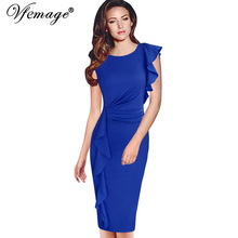 Vfemage Womens Elegant Ruffles Frill Ruched Draped Vintage Retro Tunic Slim Work Business Casual Party Bodycon Pencil Dress 6665