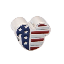 New Arrival Pure 925 Sterling Silver Jewelry Enamel USA Mouse Head Women DIY Fine Jewelry Findings Fit Pandora Charms Bracelet