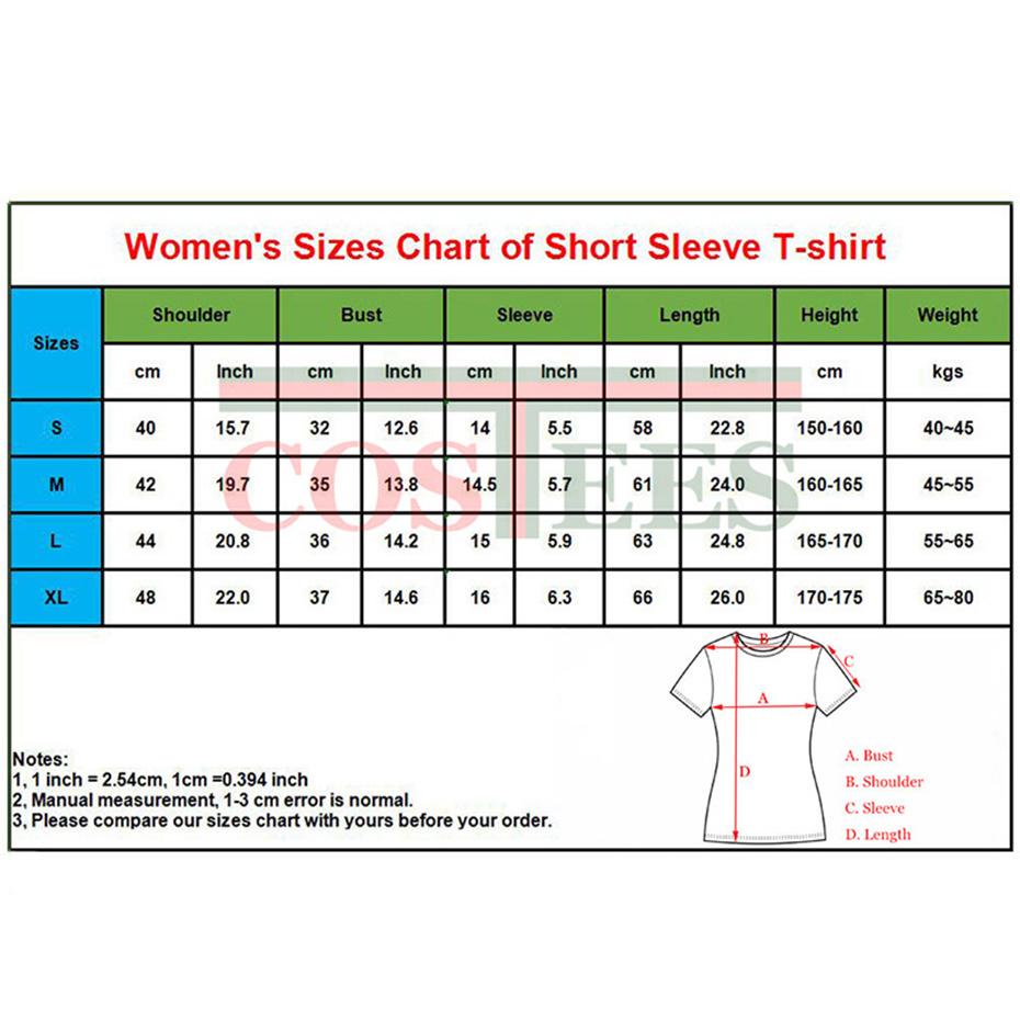 1 womens short sleeve sizes chart