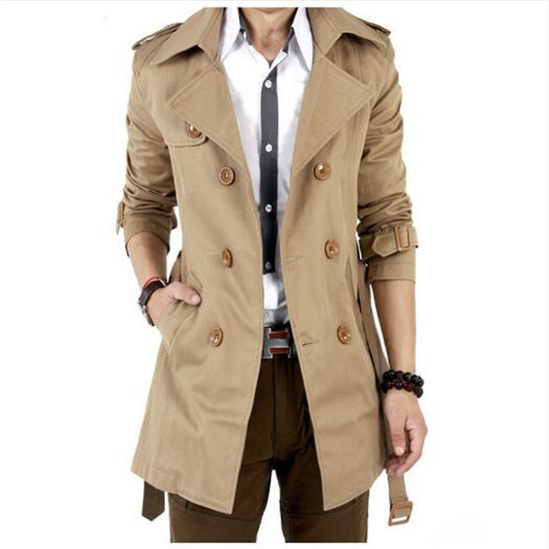 New Fashion Men Solid Slim Trench Coat England Style Long Jacket Overcoat Double Breasted British Style Overcoat