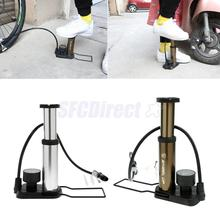Bike Foot Activated Floor Pump with Pressure Gauge Mini Bicycle Motorcycle Ball Toys Air Inflator(China)