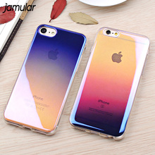 JAMULAR Blue Ray Transparent Case For iPhone 8 7 Plus Cover Cases Clear Gradien Hard Phone Case For iPhone 6S 6 Plus Capa(China)