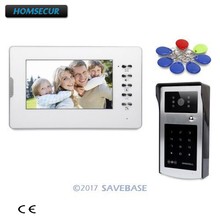 "HOMSECUR Color 7"" Video Intercom System with Keyfobs And Password Keypad for Home Security 1V1(China)"