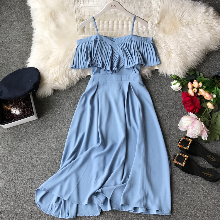 2019 Spring Women Chiffon Pleated Braces Sling Spaghetti Strap Goffer Long Dress Ladies Ruffles Empire Drapped Swing Slip Dress 181