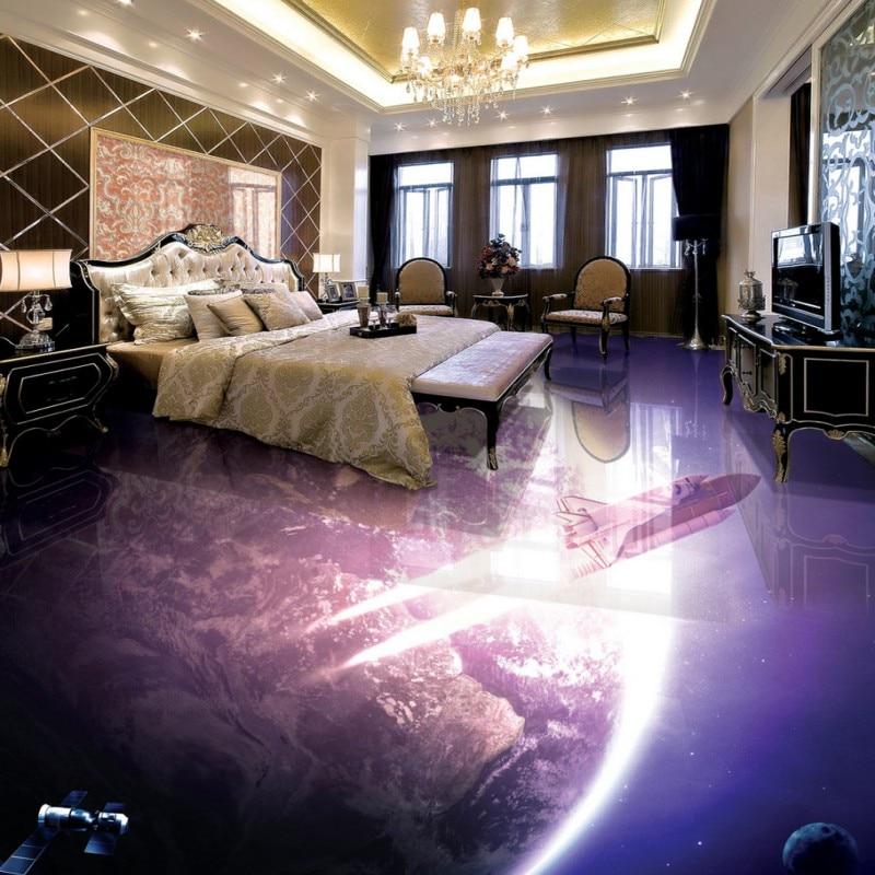 Free shipping custom floor Earth  3D bathroom living room floor waterproof self-adhesive photo wallpaper kitchen mural<br>