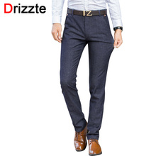 Drizzte Mens Stretch Quality Worsted Sanded Casual Pants Dress Business Trousers Black Blue Size 28 29 30 31 32 33 34 36 38(China)