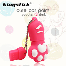 New style Cartoon cat paw Pen Drive 64gb 32gb usb flash drive real capacity cute paw pendrive 4gb 8gb 16gb memory stick U disk(China)