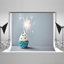 Newborn Photography Backdrops Blue Cake Computer Printing Background Splendid Fireworks Children Backdrops for Photography