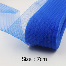 "[IuBuFiGo] 2.8"" 7cm Crushed Horse hair Crin Braids With Wave Garment Crinoline Mesh Fabric 100yard/lot"
