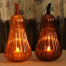 Harvest Glass Gourd Shape Lantern with Flameless Led Candle 7*15.3 Inch with 4&8Timer Autumn Home Decoration by Home Impressions(China)