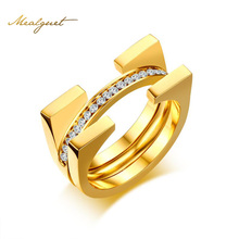 Meaeguet Three Layers Stainless Steel Ring For Women Gold-Color Crystal Ring Bridal Sets Jewelry Custom Accessories