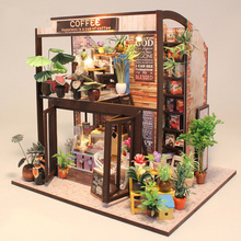 original genuine 3d diy sweet coffee cake shop flower house afternoon tea Duplex building led dollhouse sylvanian families gift