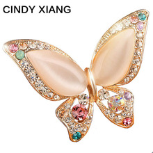 CINDY XIANG Opal Butterfly Brooch for Women Rhinestone Broches Fashion Bijouterie Wedding Jewelry 3 Colors Available Lead Free