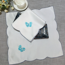 Modern satin butterfly place table mat pad cloth hot embroidery cup doilies coaster placemat mug holder dining kitchen Accessory