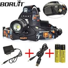 Boruit 2000LM XML T6 LED Headlamp Rechargeable Aluminum Zoomable Headlight USB POWER BANK Head Lamp Torch Lantern Light