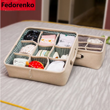 Underwear Bra Organizador Storage Box Green / Coffee Lining Drawer Closet Organizers Boxes For Scarfs Socks Thick Cotton linen(China)