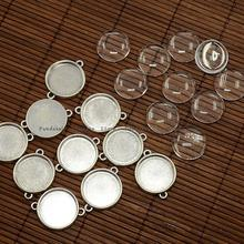 20mm Clear Domed Magnifying Glass Cabochon Cover for Flat Round DIY Photo Alloy Link Making, Lead Free, Antique Silver,