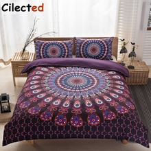 Cilected Mandala Bedding Set Queen Size Purple Concealed Bohemian Bedspread Duvet Cover Set 3Pcs Boho Home Textiles(China)