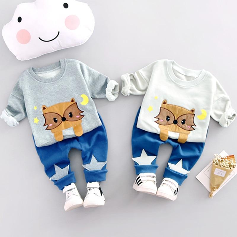 Kids Clothes 2017 Spring Autumn Baby Boys Clothes Cartoon Cat Cotton Set Children Clothing Sets Child T-Shirt+Pants Suit<br><br>Aliexpress
