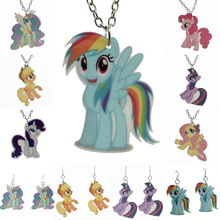 Trusta New Fashion Kawaii New Many Horse Pendant For Little Girls Cartoon Planar Resin Children's Jewelry Earring/Necklace KS151(China)