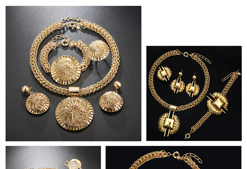 CWEEL Jewelry Sets Fashion Bridal Turkish Jewelry Vintage Antique Big African Jewellery Gold Color Women Indian Jewelry Set (3)