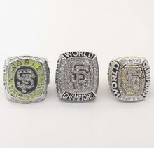 Factory direct sale 3 Years Sets 2010/2012/2014 San Francisco Giants Baseball Zinc Alloy silver plated Championship Rings sets