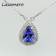 LASAMERO Classic 1.14CT Round Cut Pave Set 18k White Gold Pear Design BlueTanzanite Pendant Fashion Necklace