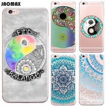 Funny Color Yingyang Mandala Flower Case For iPhone 6 Plus 6s Plus Transparent Clear TPU Cell Phone Cases(China)