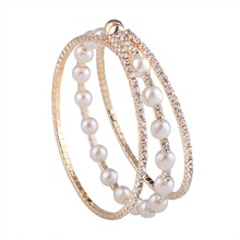New Rhinestone Crystal Charm Bracelets & Bangles For Women Gold Color Simulated Pearl Beads Braclet Jewelry Pulseras Mujer