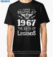 T Shirt Design Website Crew Neck Short Life Begins At 50 1967 The Birth Of Legends Graphic Mens Tees(China)