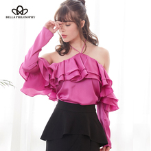 Buy Bella Philosophy 2018 spring women sexy slash neck shirt solid backless ladies ruffles shirt blusas halter full sleeve blouse