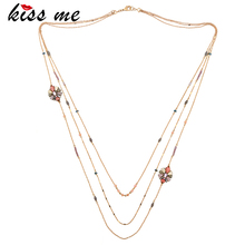 KISS ME Brand Long Sweater Necklaces for Women Colorful Flowers  Custom Jewelry 2017 Vintage Accessories