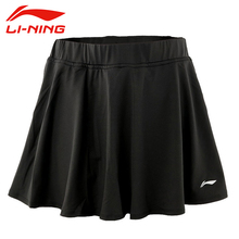 LI-NING Tennis Skirts Microfiber Spandex Jersey Solid Breathable Dry Fast Dry Fit Sport Training Skirts Women ASKK162 WQB787(China)