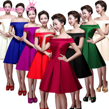 off the shoulder ladies royal blue short knee length red lace up bridesmaid dress braid maid dresses women made in china B2904(China)