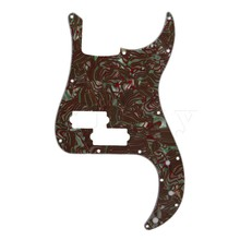 Yibuy Artistical Brown Green Mix Shell PB Electric Bass PVC Pickguard Scratch Plate