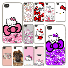 Fashionable Hello Kitty Fashion Cover Phone Case for Apple iPhone 4 4S Clear Skin Back Hard Transparent Coque Shell