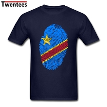 Basic Style Round Neck Organic Cotton Congo Flag Fingerprint Men t shirt Teenage tee shirt Wholesale
